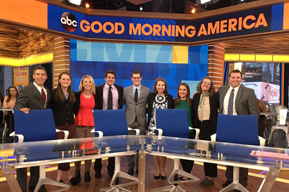 Students learn about network news in New York City