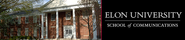 School of Communication Building and Elon Alumni Logo